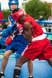 A boxing match between the winner of the World Cup 2014 year in boxing Yordan Hernandes, Cuba, and Daniel Khlebnikov, Russia. Won Stock Photography