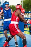 A boxing match between the winner of the World Cup 2014 year in boxing Yordan Hernandes, Cuba, and Daniel Khlebnikov, Russia. Won Stock Image