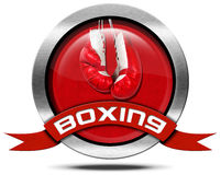 Boxing - Metal Icon. Round metal icon or symbol with a pair of red and white boxing gloves and red ribbon with text boxing.  on white background Stock Photo