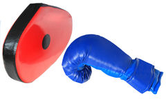 Boxing mitt and glove Royalty Free Stock Images
