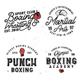 Boxing and mma themed retro logo. Templates in vintage style with grunge effect Royalty Free Stock Photos