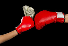 Boxing for Money. Royalty Free Stock Photo