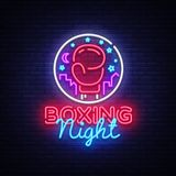 Boxing neon sign vector. Boxing Night Design template neon sign, Fight light banner, neon signboard, modern trend design. Nightly bright advertising, light Stock Photography