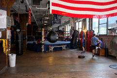 Boxing in New York City. New York is famous for its boxing gyms. The image shows boxers training in the Trinity Boxing Club in Duane street New York Royalty Free Stock Photos
