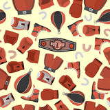 Boxing objects Seamless Pattern background. Gloves and helmet. S. Port  Illustration Stock Image