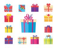 Boxing Packs Set, Presents Wrapped in Paper Bow. Boxing packs set, presents wrapped in paper with bells, topped by rose flower and bow, gift boxes vector Royalty Free Stock Photography