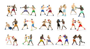 Boxing pairs set. Royalty Free Stock Images