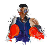 Boxing Player for Sports concept. Creative illustration of a boxing player ready to fight on white background for Sports concept Royalty Free Stock Photo
