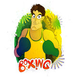 Boxing Player for Sports concept. Illustration of a boxing player ready to fight on abstract background for Sports concept Royalty Free Stock Image