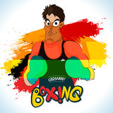 Boxing Player for Sports concept. Illustration of a boxing player ready to fight on German Flag colors abstract background for Sports concept Royalty Free Stock Photography