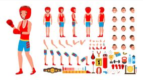 Boxing Player Vector. Animated Character Creation Set. Fighting Sportsman Male. Full Length, Front, Side, Back View. Accessories, Poses, Face Emotions Gestures Stock Photography