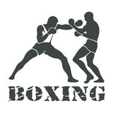 Boxing Players Fighting Sportsman Games. Icon Set Royalty Free Stock Image