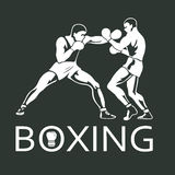 Boxing Players Fighting Sportsman Games. Icon Set Stock Photos