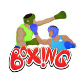 Boxing Players for Sports concept. Creative illustration of a boxing players fighting on white background for Sports concept Stock Image