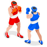 Boxing Players Summer Games Icon Set.3D Isometric Boxer Stock Photography
