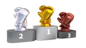 Boxing Podium with Gold Silver and Bronze Trophy in Infinite Rotation stock video