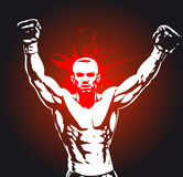 Boxing poster. Sportsman celebrating victory Royalty Free Stock Image