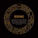 Boxing poster template. Vector sport training line icons, circle illustration of equipment - punchbag, boxer gloves Royalty Free Stock Photo