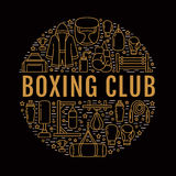 Boxing poster template. Vector sport training line icons, circle illustration of equipment - punchbag, boxer gloves Royalty Free Stock Photos