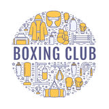 Boxing poster template. Vector sport training line icons, circle illustration of equipment - punchbag, boxer gloves. Ring, heavy bags. Box club banner with Royalty Free Stock Image