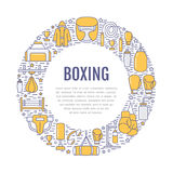 Boxing poster template. Vector sport training line icons, circle illustration of equipment - punchbag, boxer gloves. Ring, heavy bags. Box club banner with vector illustration