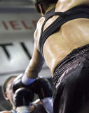Boxing Punch. Female boxer landing left jab in opponents face Royalty Free Stock Photography