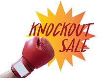 Boxing punch with knockout sale tag Stock Photography