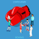 Boxing punch round sign boxer fighters flat isometric vector 3d Royalty Free Stock Images