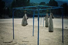 Boxing punching bags resting at the old world famous grounds which was the base for many stock image
