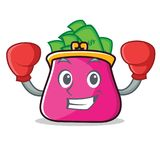 Boxing purse character cartoon style. Vector illustration Royalty Free Stock Image