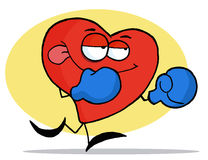 Boxing Red Heart. Wearing Blue Gloves vector illustration