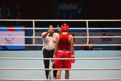 Boxing referee believes knockdown. St. Petersburg, Russia, November 21, 2016 AIBA Youth World Boxing Championships  men Stock Image