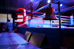 Boxing ring and bell Royalty Free Stock Photos