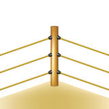 Boxing ring with brown ropes Royalty Free Stock Image