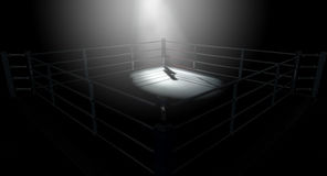 Boxing Ring Corner Lit. A 3D render of a modern boxing ring with a blue and red area spotlit dramatically on one corner on an  dark background Stock Photos