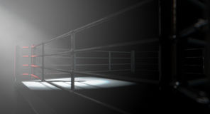 Boxing Ring Corner Lit. A 3D render of a modern boxing ring with a blue and red area spotlit dramatically on one corner on an isolated dark background Stock Images
