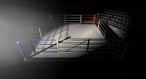 Boxing Ring Corner Lit. A 3D render of a modern boxing ring with a blue and red area spotlit dramatically on one corner on an isolated dark background Stock Image