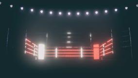 Boxing ring in dramatic lighting. 3D render vector illustration