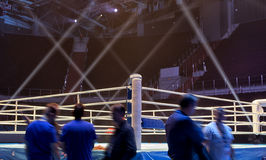 Boxing ring before the event Boxing Championship. Light show around the boxing ring Stock Photo