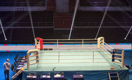 Boxing ring before the event Boxing Championship. Light show around the boxing ring Stock Image