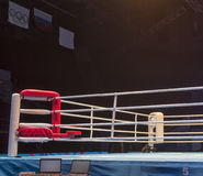 Boxing ring before the event Boxing Championship. Light show around the boxing ring Stock Photos