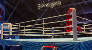 Boxing ring before the event Boxing Championship. Light show around the boxing ring Royalty Free Stock Image