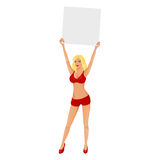 Boxing ring girl with blank card Royalty Free Stock Photography