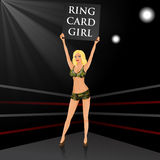 Boxing ring girl holding a board. Royalty Free Stock Photos