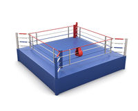 Boxing ring and gloves on the ropes. 3d. Boxing ring on a white and gloves on the ropes. 3d illustration Royalty Free Stock Photo