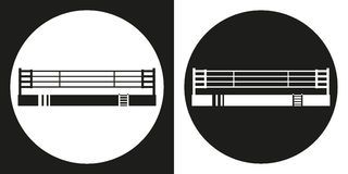 Boxing ring icon. Silhouette sports arena on a black and white background. Sports Equipment. Vector Illustration Royalty Free Stock Image