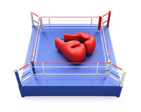 Boxing ring with large Boxing gloves on it. 3d. Stock Photo
