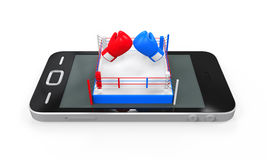 Boxing Ring in Mobile Phone Stock Images