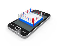 Boxing Ring in Mobile Phone. Isolated on white background. 3D render Stock Photo
