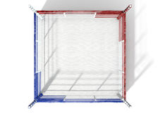 Boxing Ring Modern Isolated. A 3D render of a modern boxing ring with opposing blue and red corners on an isolated white studio background Stock Image